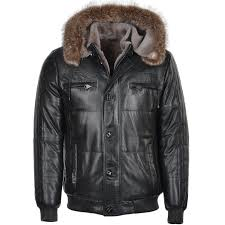 lambskin leather and sheepskin lined hooded jacket odin