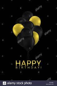 Golden And Black Balloons Happy Birthday Background Vector