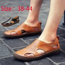 mens roman sandals summer genuine leather breathable beach shoes mens gladiator sandals summer british retro men shoes cowhide