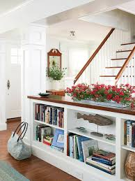 half wall with bookcases