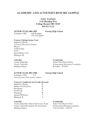 Activities Resume For College Template