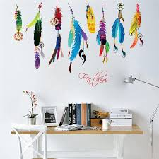 flying feathers dreamcatcher wall art decorative stickers room mural decorations 0001 gift home decals diy posters 2 5 wall cling wall cling art from