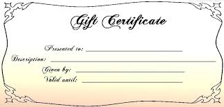 Fillable Gift Certificate Template Free Printable Gift Certificate Template Blank Fillable