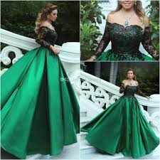 ball gown for plus size green black ball gown evening dresses off shoulder long sleeves