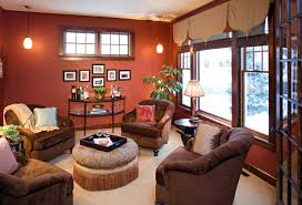 Living Room:Spacious Warm Colours For Living Rooms With Red Wall Color And  Brown Single