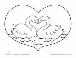 Small Picture Valentines Day Swan Worksheet Educationcom