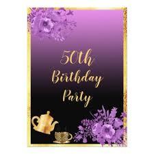 Black And Purple Invitations 50th Birthday Party Invitation Gold Black Purple Zazzle