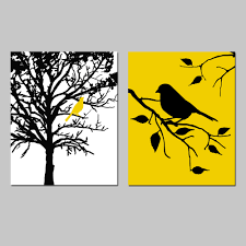 Yellow Kitchen Decorating Birds And Trees Set Of Two 8x10 Prints Bathroom Nursery