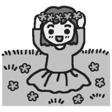 花のかんむりモノクロ春の野原の無料イラストミニカットクリップ