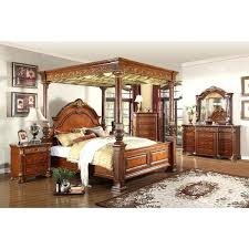 king canopy beds meridian furniture royal post q cherry queen bed w ornate  carvings marble detail