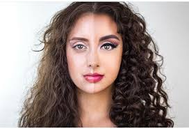 makeup transformations with curly hair