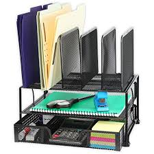 Storage solutions for office Constructor Simplehouseware Mesh Desk Organizer With Sliding Drawer Double Tray And Upright Sections Black Benhar Office Interiors Office Storage Solutions Amazoncom
