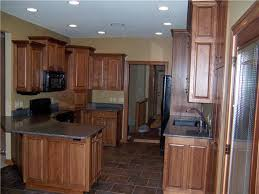 hickory cabinets raised panel doors and side panels full overlay style quartz countertops