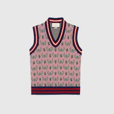 gucci vest. skull and flower jacquard wool waistcoat gucci vest