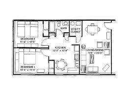 0 for the 2 bedroom 1 bath floor plan