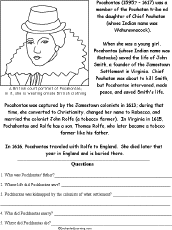 pocahontas and other famous people worksheets history social  pocahontas and other famous people worksheets