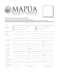 Student Application Form Template Word