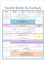 Workout Schedule Chart Family Daily Routine Schedule Template Daily Routine