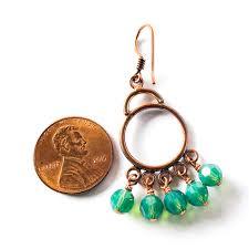 green opal crystal copper chandelier earrings