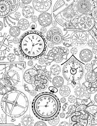 coloring book page with mechanical details cogs gears and old clocks black and