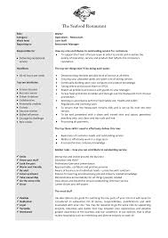 Duties Of A Waitress Resume Job Description Words Awesome Resume