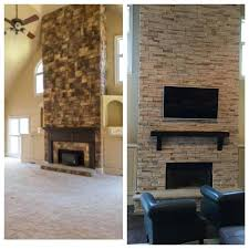 fireplace makeover before and after brick
