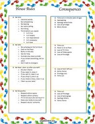 Rules And Consequences Chart 61 Best Consequence Chart Images Kids Behavior Kids