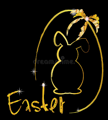 word easter egg shiny gold easter egg ribbon and bunny stock image image of black