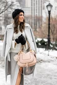 bcbgeneration grey midi skirt worn by fashion blogger amanda of a glam lifestyle during nyfw with