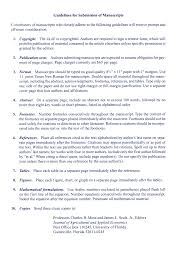 Guidelines For Submission Of Manuscripts Contributors Of Manuscripts