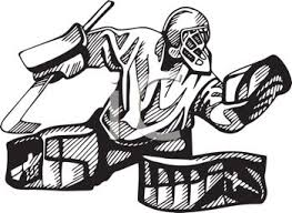 Small Picture Hockey Goalie in Black and White Royalty Free Clip Art Illustration
