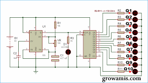 heart shaped serial led flasher circuit using 555 timer ic and 4017 Residential Electrical Wiring Diagrams at 4017 Wiring Diagram