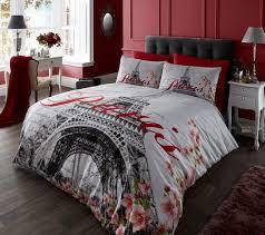 paris twin bedding sets elegant eiffel tower full queen black white red