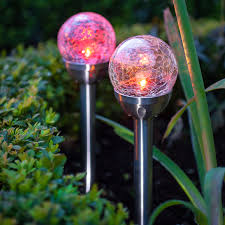 Colour Changing Solar Garden Lights Details About Set Of 2 Crackle Glass Ball Color Changing Solar Garden Landscape Stake Lights