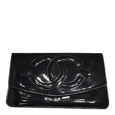chanel patent leather black vintage wallet
