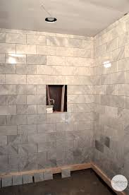 Elegant Natural Grey Pattern Marble Shower With Built In Niche Shower As  Decorate Midcentury Walk In Shower Designs