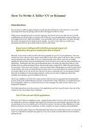 How To Write A Killer Cv Resume With Things To Say About Yourself On