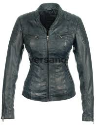las imitation leather jacket blue versano miami front