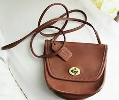 Get Quotations · Vintage COACH Brown Saddle Leather Small Purse Shoulder  Crossbody Made in US