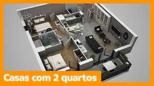 Através de sua configuração, é criado um espaço de lazer com área para churrasqueira, piscina e jardim. Plantas De Casas Com 2 Quartos Youtube