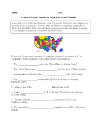 States Comparative and Superlative Adjectives Worksheet ...