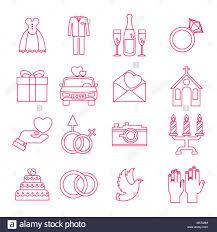 Wedding Icons Outline Set Stock Vector Art Illustration Vector