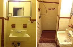 vintage yellow brown tile bathroom