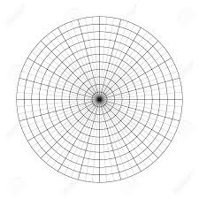 Polar Grid Of 10 Concentric Circles And 5 Degrees Steps Blank