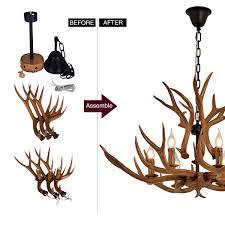 Geweih Vintage Style Harz 6 Licht Kronleuchter Deckenleuchte Durchmesser 88cm Höhe 54cm Nostalgische Geweih Kronleuchter Brown