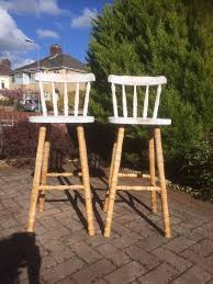 bar stool wood kitchen stools retro shabby chic solid wood breakfast bar stools x 2