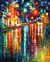 the glowing night palette knife oil painting on canvas by leonid afremov