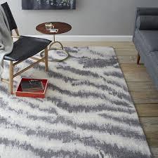 grey white 5x8 outdoor rug diffused zebra printed wool rug west elm