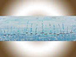 sailing 2 by qiqigallery 36 x 12 sail boat painting original abstract seascape blue turquoise white palette knife painting wall art wall decor wall