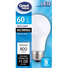 60 Watt Light Bulb Walmart Great Value Led Light Bulb 60w Daylight 1 Count Walmart Com